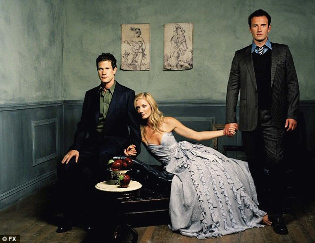Youthful: Left, Julian's performance as playboy plastic surgeon Christian Troy on the FX series Nip/Tuck, alongside   Dylan Walsh (L) and Joely Richardson (C), saw him nominated for the Golden Globe Award for Best Actor - Television Series Drama in 2005