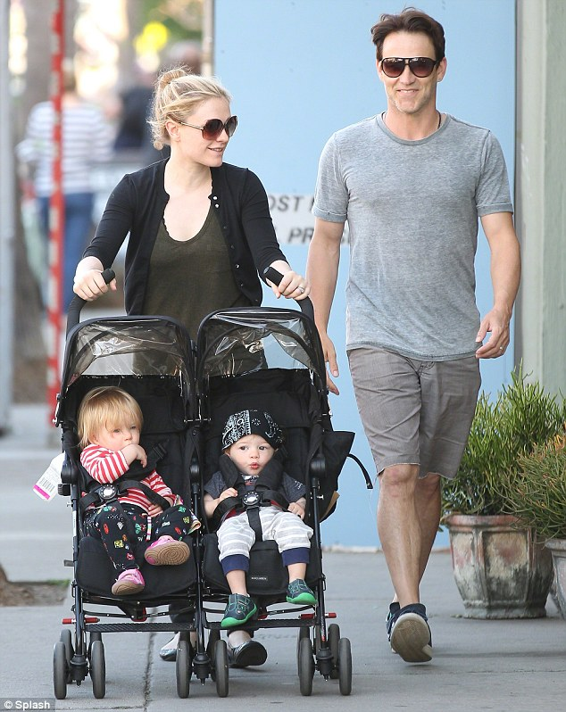 Happy family: Anna and husband Stephen Moyer are shown in March with their twins in the Venice area of Los Angeles