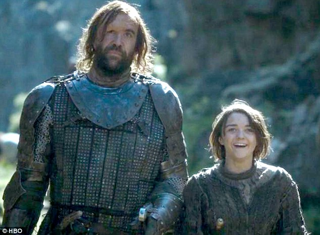 Having a laugh: Maisie said she loves spending time with her towering Scottish co-star Rory McCann
