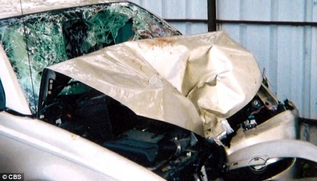 Wreck: The Saturn Ion was mangled after going off the road in 2004
