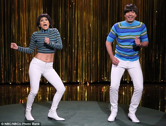 Tight pants: Jennifer Lopez joined Jimmy Fallon on Monday for a Tight Pants skit on The Tonight Show