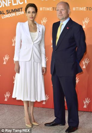 Challenge: Angelina Jolie and William Hague have arrived at London's ExCel centre for the first day in a three-day summit challenging rape in war zones