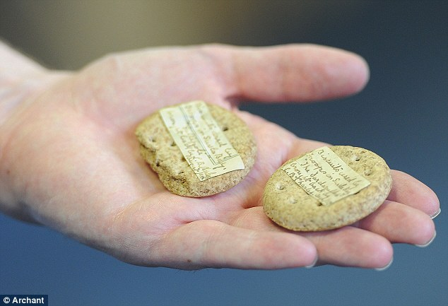 Tough: These biscuits from a major campaign in the First World War will go under the hammer next week. They are almost 100 years old