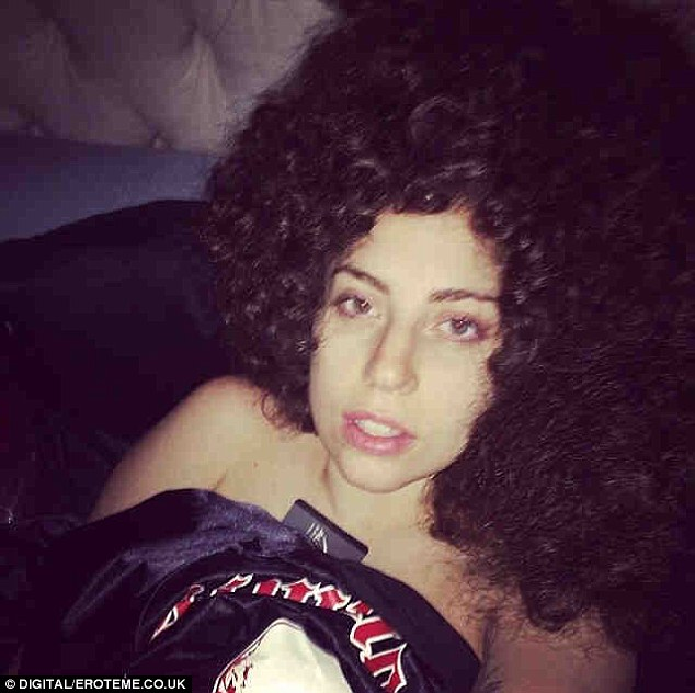 Not coming off: Gaga kept her wig on even when she retired to bed for the evening
