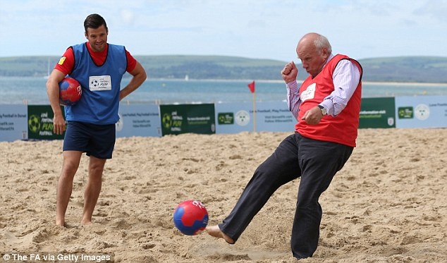 Kicking up a storm: Dyke, pictured during a England promotional event last week, has spoken out against Blatter