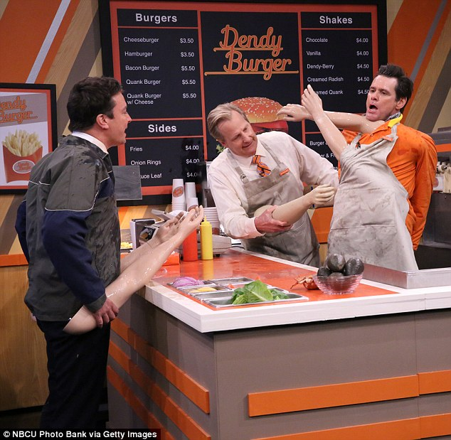 Tuesday night live: SNL alumni Fallon set his familiar Real People, Fake Arms skit in a burger joint for the boys