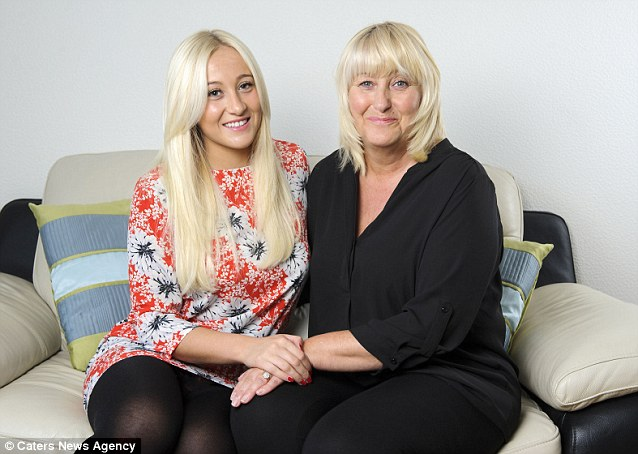 Sophie had promised her parents she would wait until she was older before going under the knife, and was delighted when her mother Angela (right) announced they would help her pay for the operations