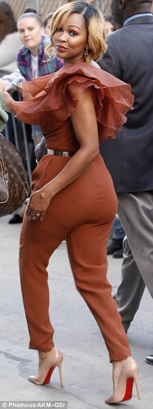 Work it, girl! Meagan's honeycomb locks perfectly complemented her camel-coloured jumpsuit