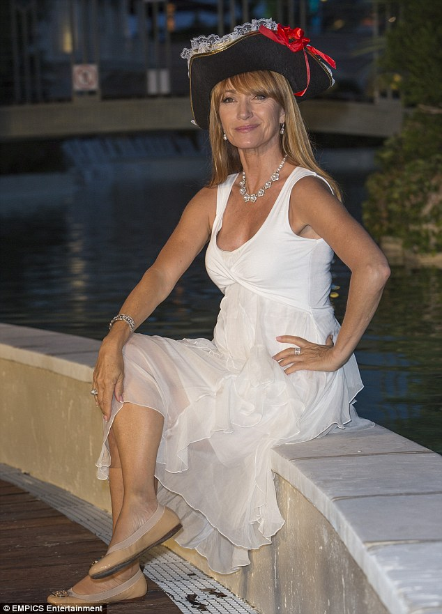 Shiver me timbers! The star certainly looked the part in a pirate hat and white gown as she posed for pictures at the gala night for TV series Black Sails at the Monte Carlo Bay Resort as part of the Monte Carlo TV Festival