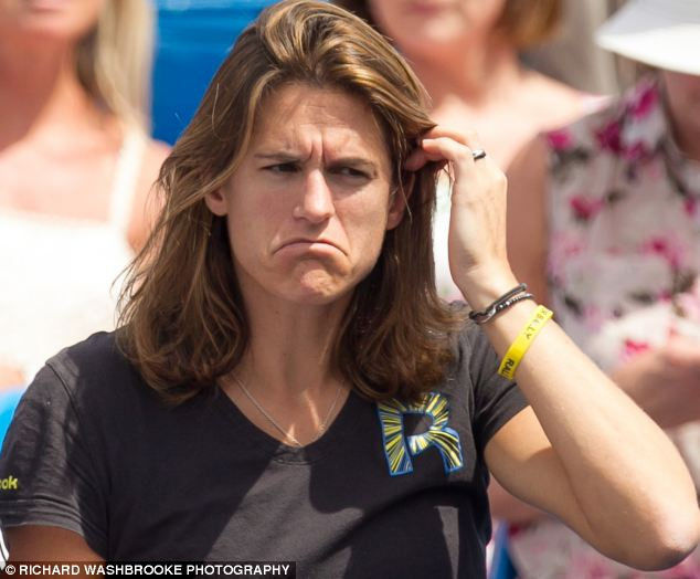 In the hot seat: Mauresmo, herself a former Wimbledon champion, was in the front row for Murray's victory in the Aegon Championships at Queen's Club, London
