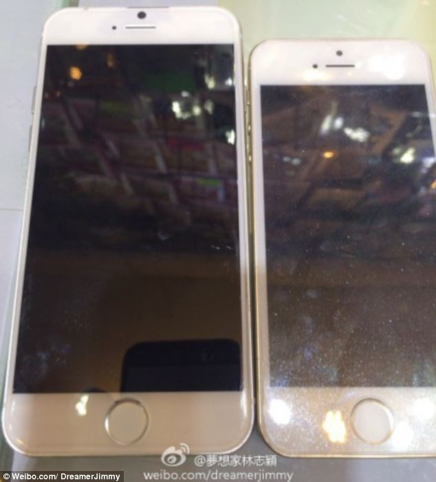 The iPhone 6 (left) has the same fingerprint sensor as the 5S (right), but is noticeably larger