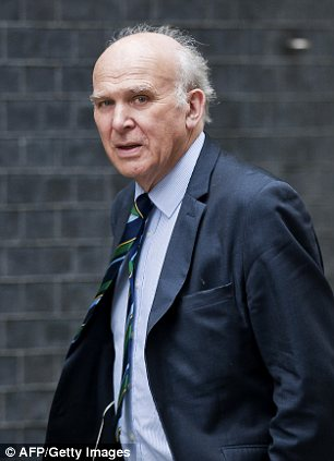 Warning: Business Secretary Vince Cable earlier warned that borrowing was running out of control.