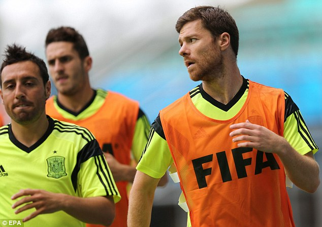 Training: Santi Cazorla (left), Koke (centre) and Alonso together during Spain's World Cup preparations