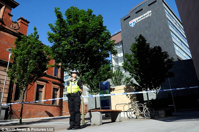 'Suspicious': Police have again sealed off the campus at Newcastle University after 'suspicious' items were found earlier this week