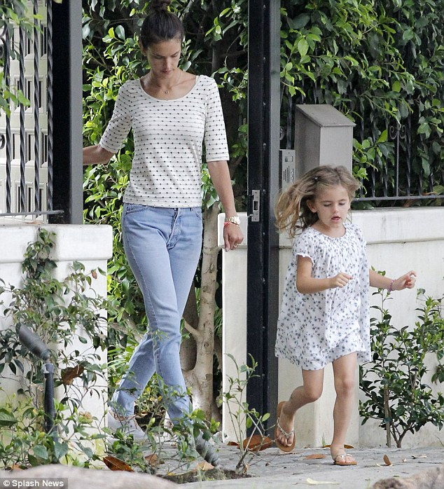 She's first out the gate: Alessandra Ambrosio's daughter Anja got off to a racing start as the supermodel took her little girl to a play date near their home in Brentwood, Los Angeles, on Wednesday