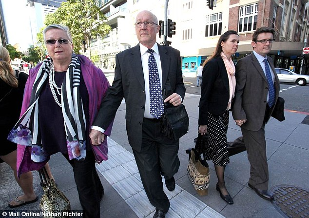 From left, Gerard Baden-Clay's parents Elaine and Nigel and the accused's sister Olivia Walton and husband Ian arrive at court on Thursday