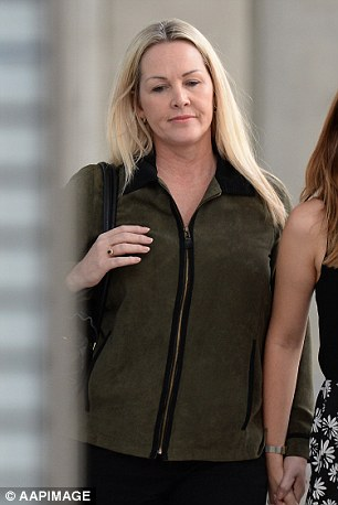 Fiona White, who lived in a neighbouring suburb to the Baden-Clays, said she heard female screams that sounded 'like someone falling off a cliff' on a night in April. She is pictured leaving the Supreme Court in Brisbane on Thursday