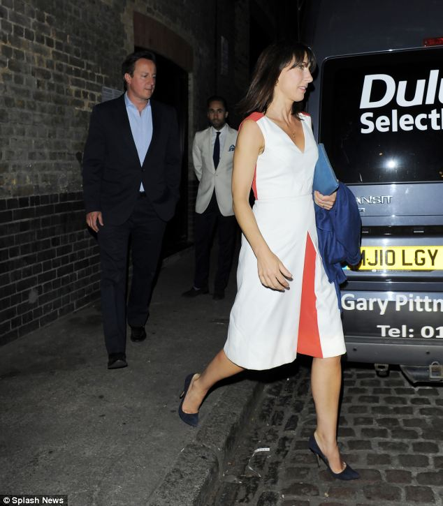 David Cameron and wife Samantha exit trendy eatery The Chiltern Firehouse via the back door last night