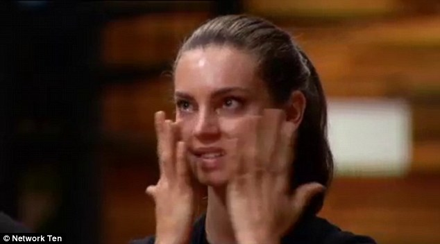 Sad: It was an emotional farewell for the model, who had been one of the competition's frontrunners until she served up raw chicken to the judges