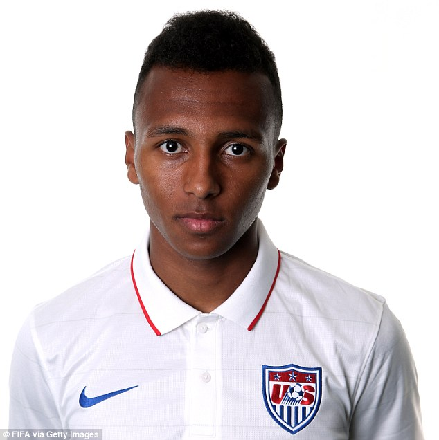 Pressure: Julian Green, featuring only for Bayern Munich's second team, replaced Landon Donavon for USA