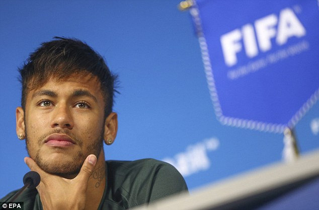 Pressure: The Brazilian nation expect Brazil to win and they will rely heavily on Neymar (pictured)