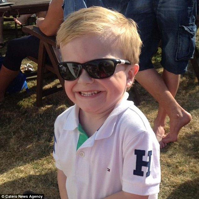 Brave: Harry Beardsell must wear shades all year round to protect him from the effects of an incurable disease