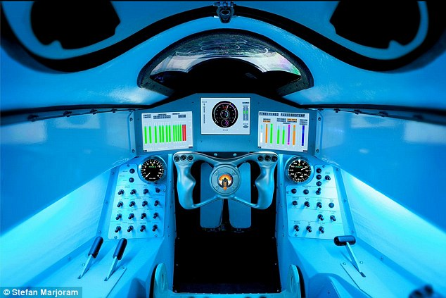 The complex cockpit (pictured) has been tailored to the needs of Wing Commander Green, an RAF fighter pilot, who will make his bid to smash the world record next year