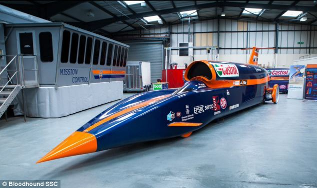 The 51-year-old RAF pilot hopes to break the world land speed record  - and with it the sound barrier - with the £10 million rocket-powered car. A model is pictured