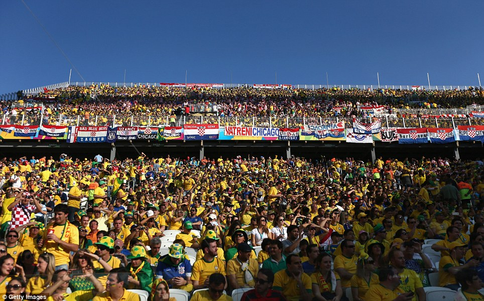 Packed: The general view of the arena during the opening ceremony as fans piled in to see Brazil v Croatia
