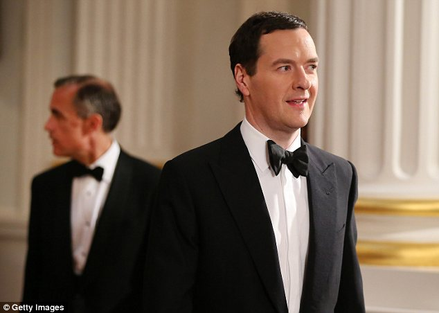 Test: Chancellor of the Exchequer George Osborne, right, is followed by Mark Carney, Governor of the Bank of England at Mansion House