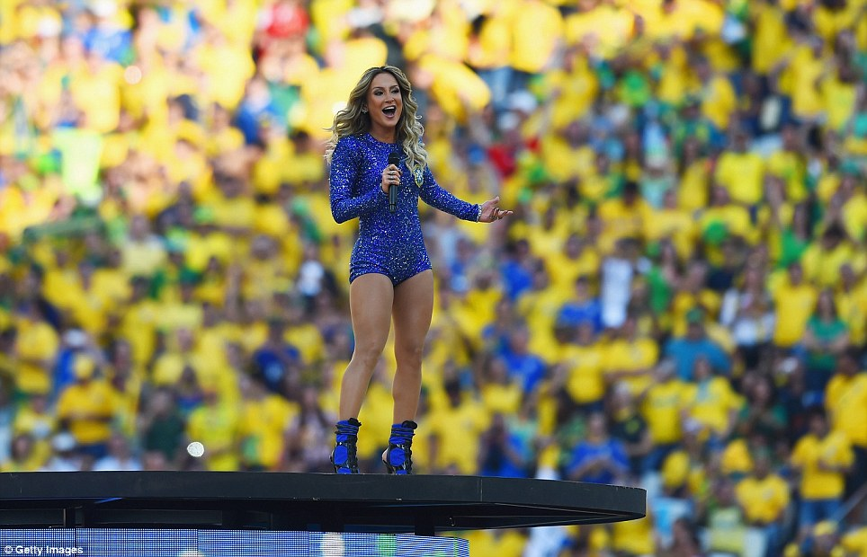High notes: Singer Leitte performs during the opening ceremony of the 2014 World Cup where the Brazuca ball was before it split into segments