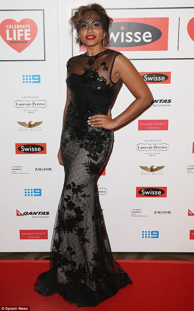 Good look: Jessica Mauboy stunned in an Alex Perry gown at the Swisse Celebrate Life Ball on Friday