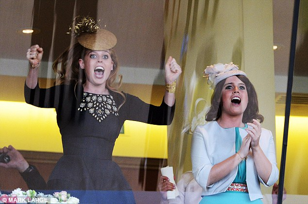 Princesses Beatrice and Eugenie cheer on the Queen's horse Estimate