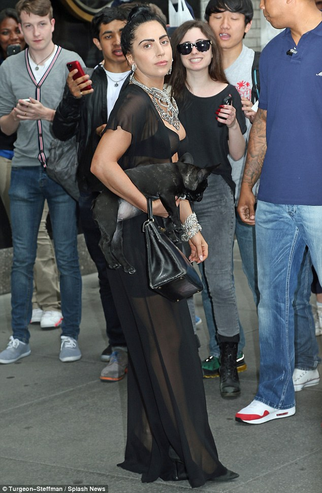 Meeting and greeting: Gaga chatted with her waiting fans as she made her way outside of her apartment