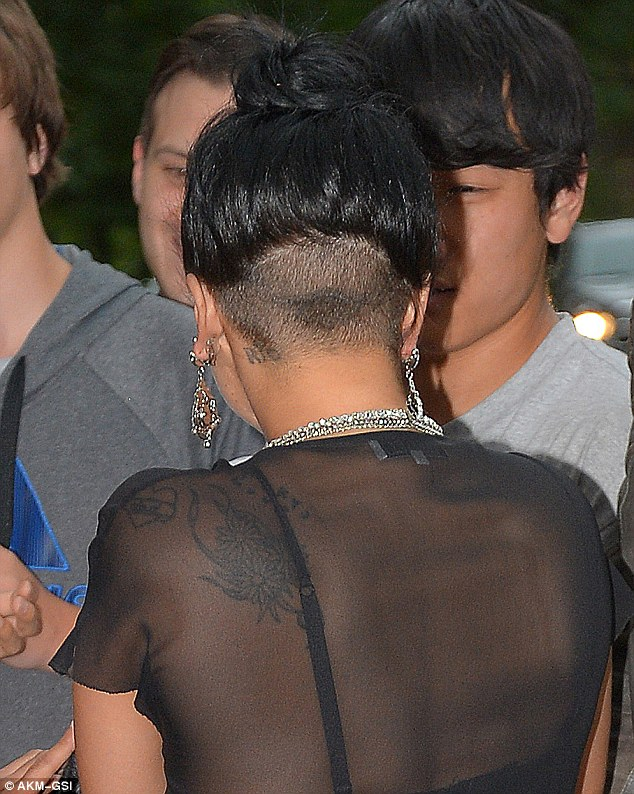 Bare: The singer sported an interesting new 'do with her hair cropped over the shaved underside