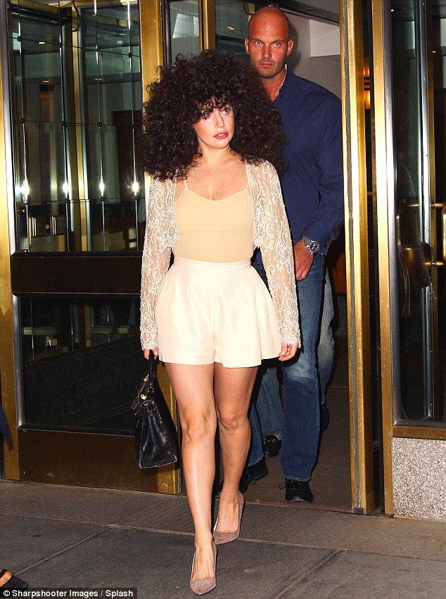 Quick change: Gaga was back in a Cher style wig later in the day