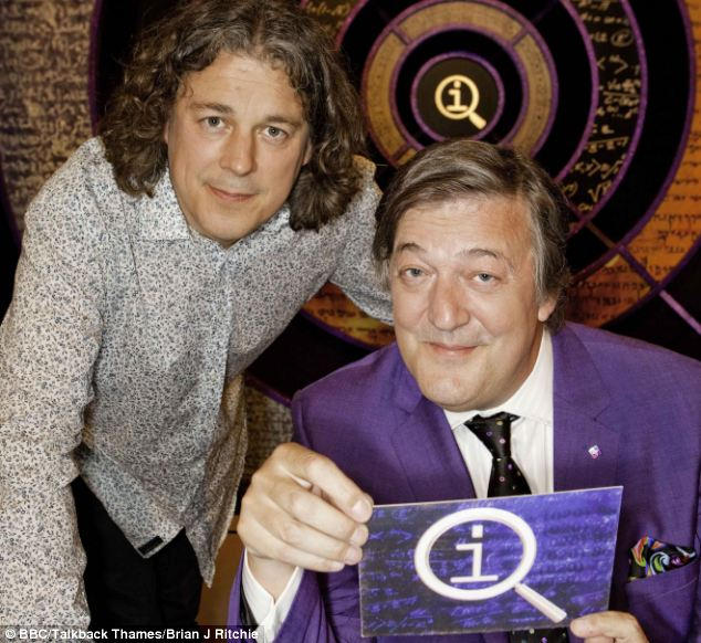Pay cut: Alan is a team captain on QI, the light-hearted panel game hosted by Stephen Fry