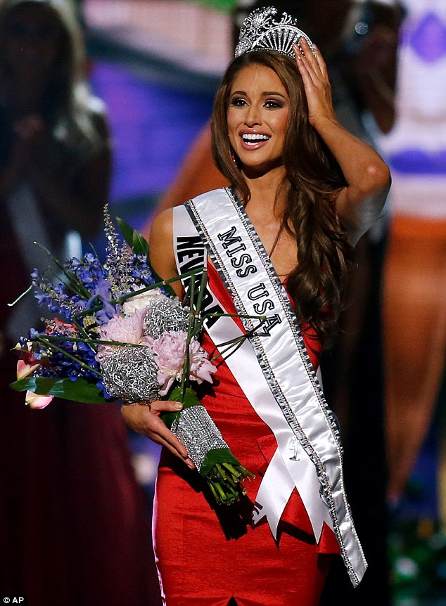 California girl: Miss Nevada Nia Sanchez won the competition last Sunday night, but sources say she lives in Los Angeles