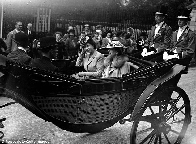 Passion for racing: The then Princess Elizabeth arrives with her aunt, Mary Princess Royal, for Ascot 1946
