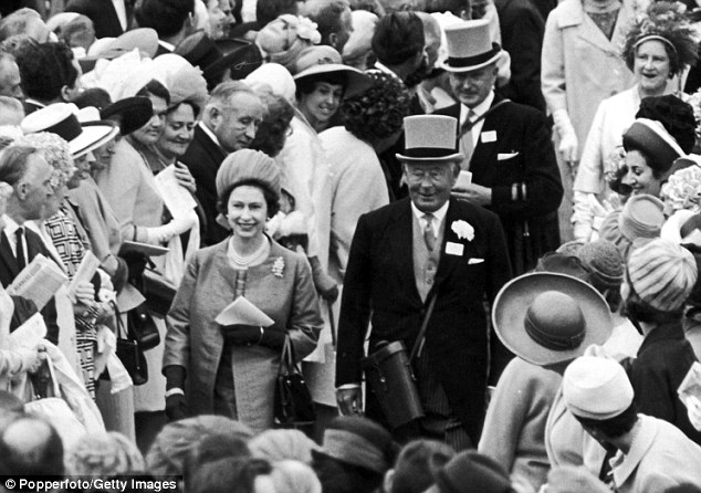 All smiles: The Queen, accompanied by the 16th Duke of Norfolk and the Queen Mother, at Ascot in 1967
