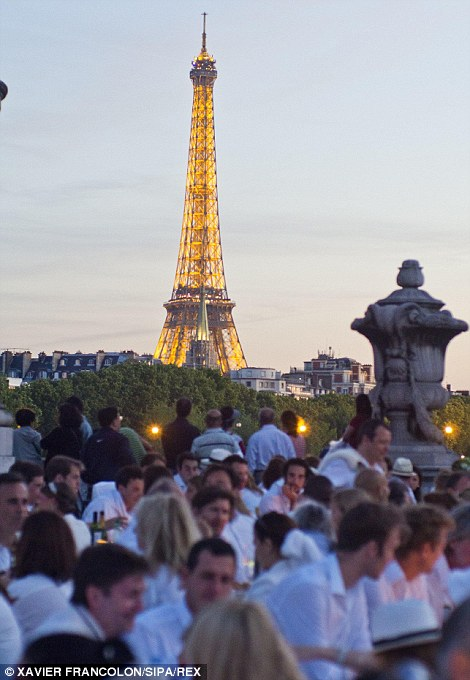 Some ate on the Pont Alexandre III in the shadow of the Eiffel Tower