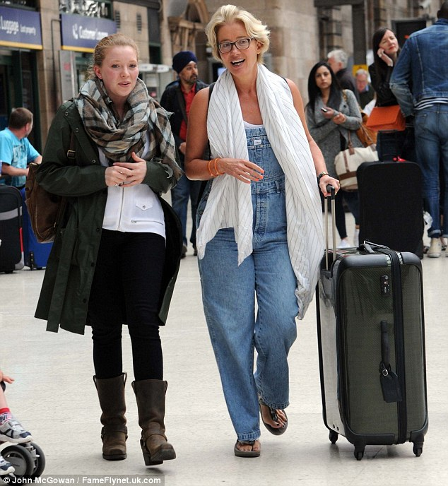 Casually cool:  Emma Thompson was seen at Glasgow station on Friday