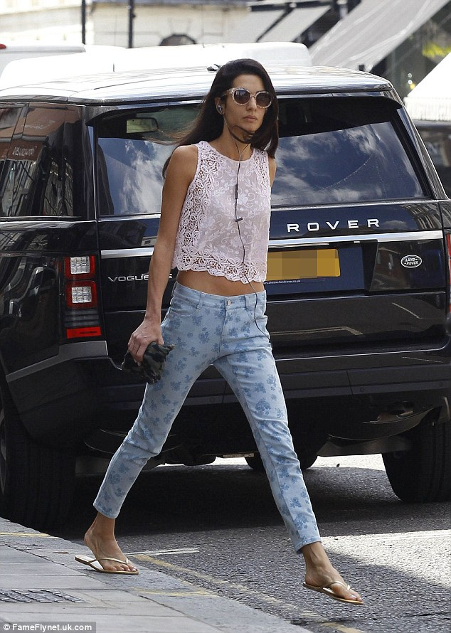 Off-duty: The day before Amal sported a more casual attire as she went to get a facial