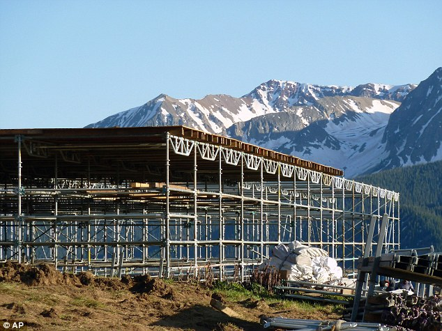 Opposition: Residents say the scaffolding erected in preparation for the planned June 14 wedding of Alex Steel, daughter of Aspen Institute chairman Robert Steel, at the top of Little Annie Basin, near Aspen, Colorado is bad for the environment