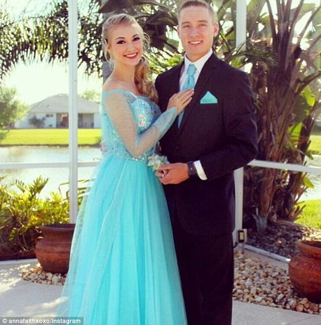 Staying in character: Carlson even attended a prom dressed as Elsa