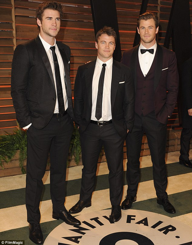 Three musketeers: The Hemsworth brothers (L - R) Liam, Luke and Chris have all now left Australia for the bright lights of Hollywood, pictured at the Vanity Fairs Oscar after party in March