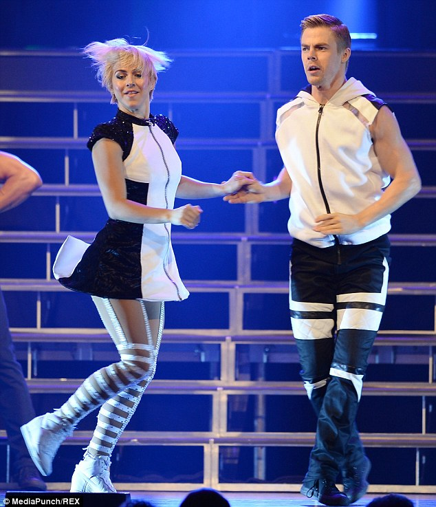 Keep going! The pair worked up a sweat as they performed in matching monochrome dance outfits