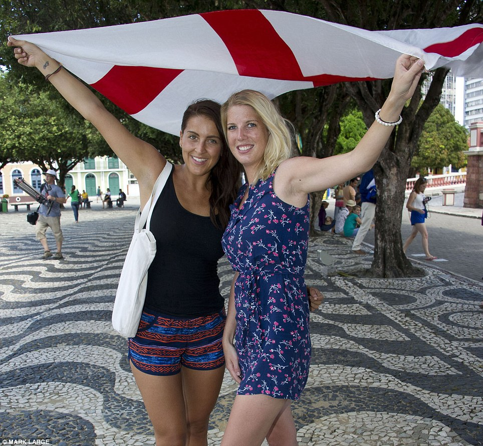 Superfans: Carla Fawns with Karen Stewart (pictured) travelled all the way from Cambridge to be at the Amazon rainforest stadium for the match against Italy