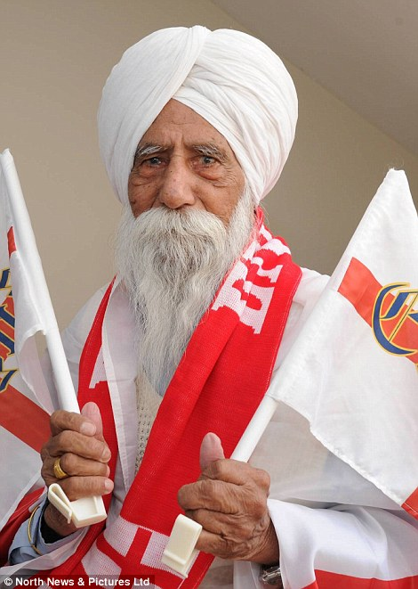 Nazar Singh from Sunderland has claimed to be England's oldest fan at 110, having lived through every World Cup since its inception