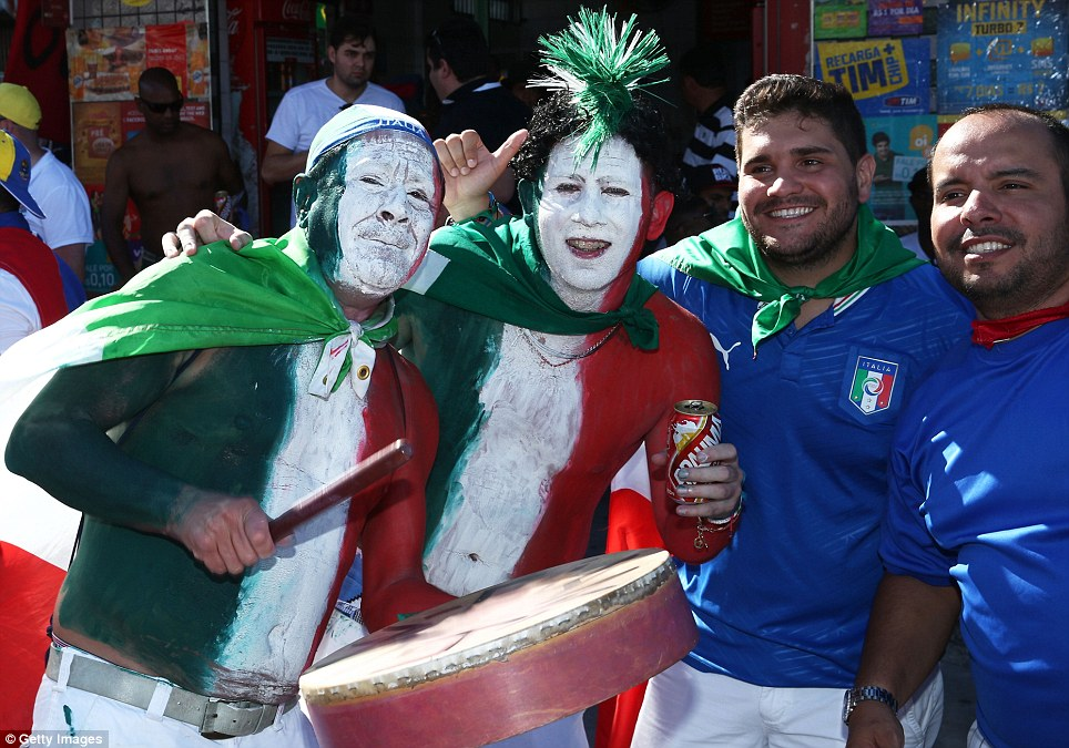The competition: Italian fans in Manaus have not been short of costumes or face paint either, and despite a ban on musical instruments they planned on making a din